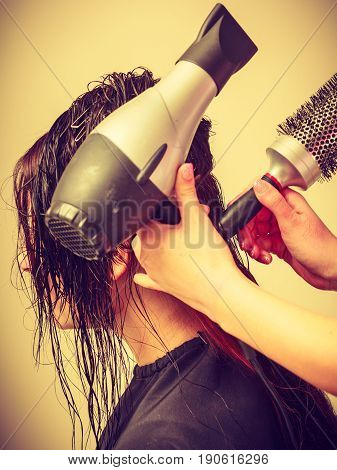 Hairdresser Styling Woman Dark Long Hair
