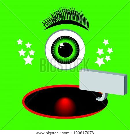 Green monster catoon with eye and speach bubble. Vector illustration.