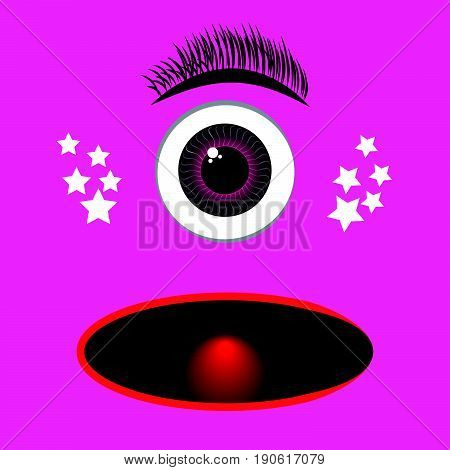 Pink monster catoon with eye. Vector illustration.