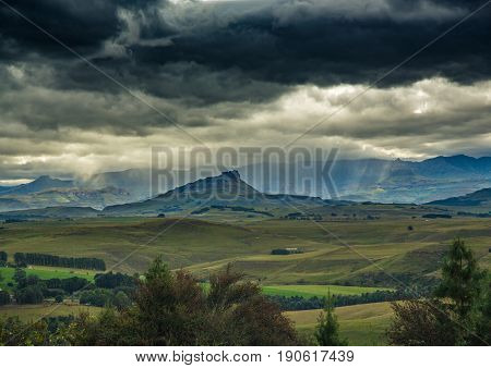 Lanscape Of The Drakensberge Near The City Of Underberg During Bad Weather Conditions