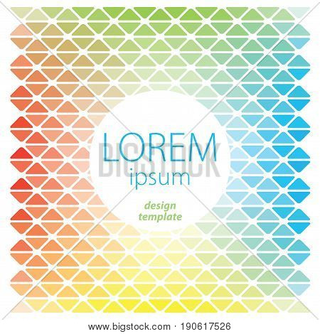 Design Template Lorem Ipsum Poster with elements of seamless pattern of different colors vector illustration