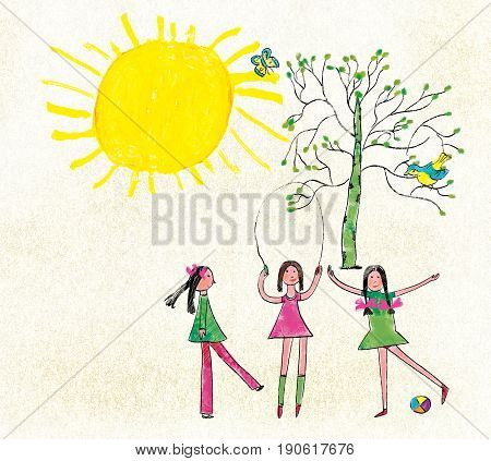 Three girls jump through the rope and play a ball against the background of the sun and a tree with a bird and a butterfly. Stylization for children's drawing