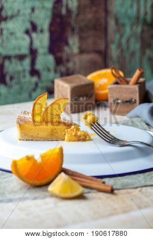 Orange cake souffle a piece in beautiful scenery.