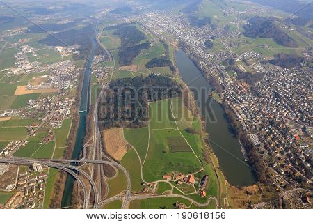 Lucerne Luzern Highway Interchange Crossroad Emmen Switzerland Aerial View Photography