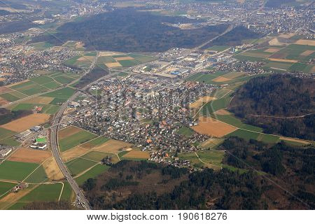 Hunzenschwil Canton Aargau Switzerland Town Aerial View Photography