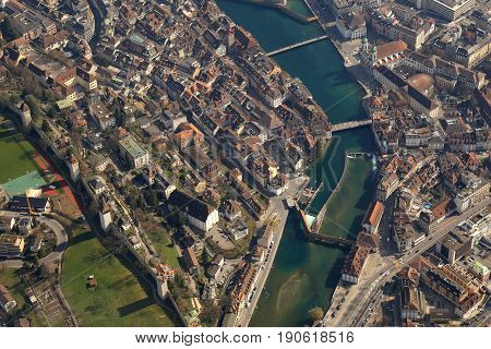 Lucerne Reuss River Luzern Switzerland Town City Aerial View Photography
