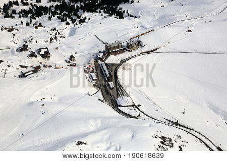 Kleine Scheidegg Switzerland Alps Winter Sports Skiing Mountains Aerial View Photography