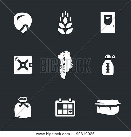 Corn, wheat, door, safe, greenland, thermometer, bag, calendar, box.