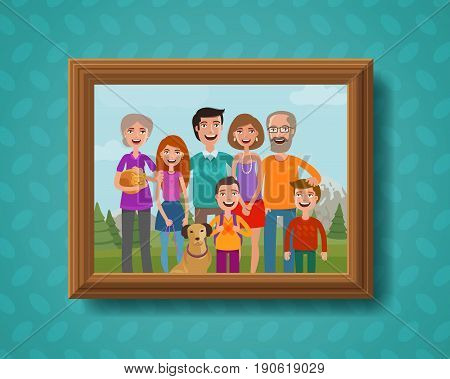 Family photo on wall in wooden frame. Family vacation. Cartoon vector illustration