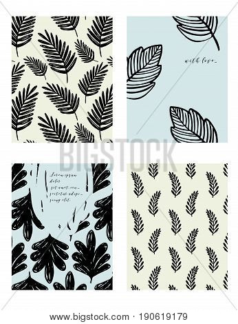 Vector contemporary floral greeting card set. Hand drawn ink template for cards flyers brochures business birthday anniversary wedding party invitation holidays.