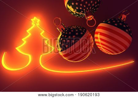 3d illustration illuminated Christmas Tree with Balls with USA Flags