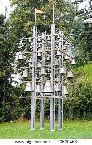 Gigant glockenspiel at Sisikon on the Swiss alps