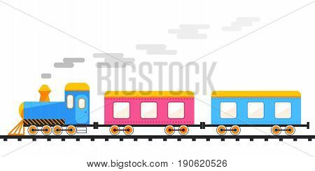 railway train is moving leaving a trail of smoke vector illustration isolated from background separate layers  passenger cars rolling moves on the track