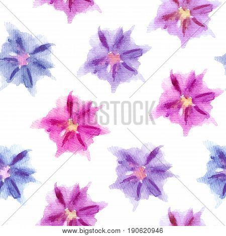 Seamless pattern with hand-drawn watercolor blue, pink, violet, purple abstract blooming flowers isolated on white background.Sketchy floral elements for prints, cards, package, textile,surface design