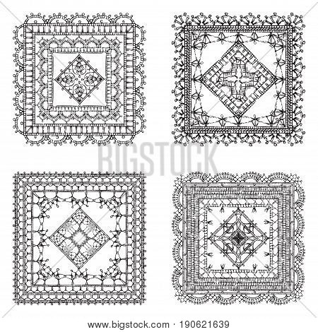 Vector Set Of Lace Crochet Square Ornaments.