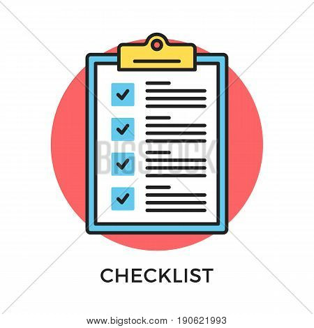 Checklist icon. Check list, clipboard with checkboxes and checkmarks. Modern flat design thin line concept. Vector icon isolated on white background