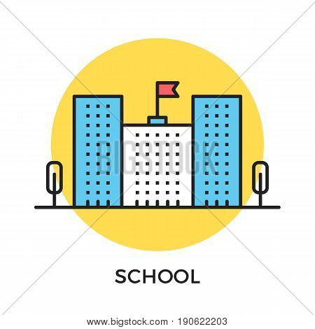 School icon. School building with flag and trees. Modern flat design thin line concept. Vector icon isolated on white background