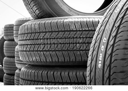 Close Up Of Stack Used Car Tires.