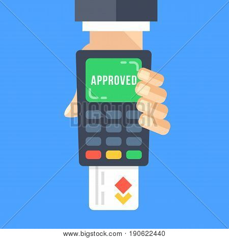 Hand holding payment terminal with inserted credit card and word approved on screen. Successful payment, approved transaction concepts. POS terminal. Modern flat design vector illustration