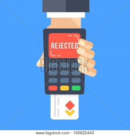 Hand holding payment terminal with inserted credit card and word rejected on screen. Failed payment, rejected transaction concepts. POS terminal. Modern flat design vector illustration