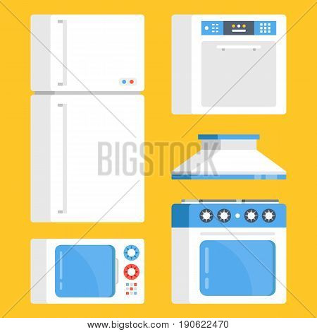 Kitchen appliances set. White refrigerator, microwave oven, electric range, exhaust hood and dishwasher. Creative concept. Modern flat design graphic elements. Vector illustration