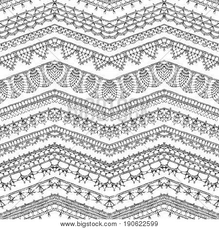 Vector Seamless Pattern Of Crochet Lacy Edges.