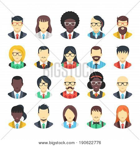 People avatars icons set. Business people, office workers, white collars wearing suits, ties, vests, shirts, office clothes. Men and women characters. Modern vector icons isolated on white background