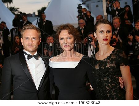 Jacqueline Bisset, Jeremie Renier, Marine Vacth attend  'Amant Double (L'Amant Double')' Red Carpet Arrivals during the 70th  Cannes Film Festival at Palais on May 26, 2017 in Cannes, France.