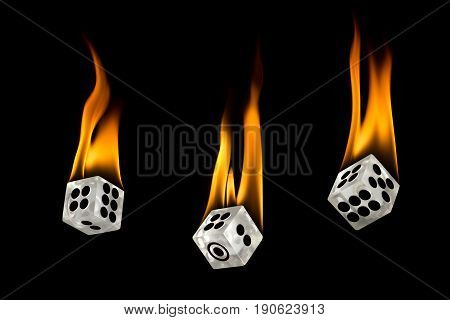 Dice drop down. Toss the dice. Fire on the dice.