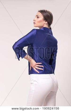 One Young Caucasian Woman 20S, 20-29 Years, Fashion Model Posing, Rear View, Back, Studio, White Bac