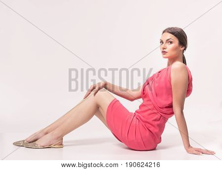 One Young Caucasian Woman 20S, 20-29 Years, Fashion Model Posing, Studio, Sitting White Background,