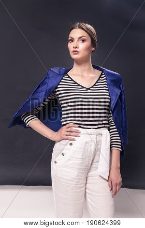 One Young Caucasian Woman 20S, 20-29 Years, Fashion Model Standing Posing, Studio, White Background,