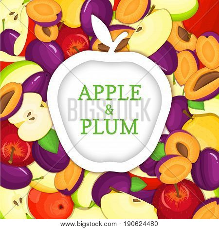 White apple sticker on ripe apple plum background. Vector card illustration. Delicious and juicy plums apples and label for design tea, ice cream, natural cosmetics, health care products, detox diet