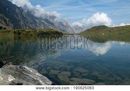 Lake Truebsee over Engelberg on the Swiss alps