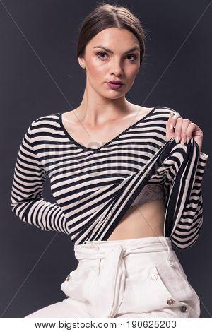 One Young Caucasian Woman 20S, 20-29 Years, Fashion Model, Posing, Studio, White Background,  Horizo