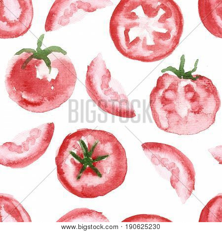 Sketchy wet wash watercolor appetizing tomatoes (cut in half sliced) painted on canvas texture paper isolated on white background. Seamless pattern for menu recipe dinnerware tablecloth design.