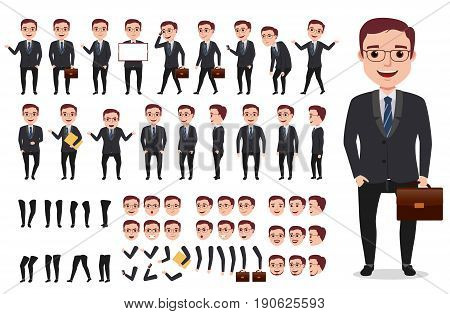 Businessman or office male vector character creation kit. Set of ready to use characters and create your own with poses and gestures isolated in white.