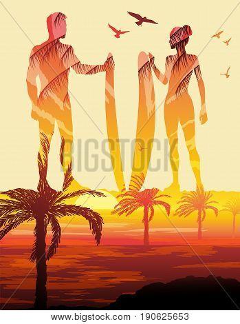 Double exposure, Surf silhouettes, Surf trip concept, vector illustration
