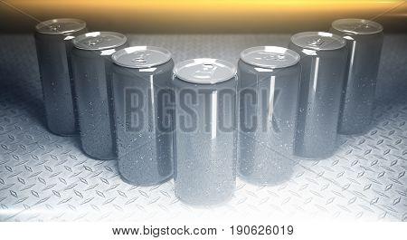 Blank Aluminium Beer Cans Closeup