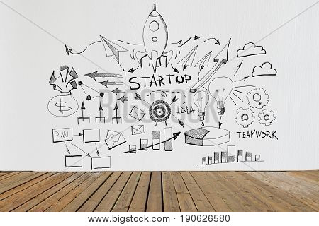 Interior with wooden floor and business sketch on concrete wall. Startup concept