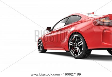 Back of a red luxury car isolated on a white background isolated on a white background: 3d rendering