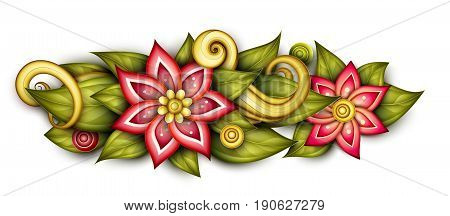 Vector Colored Floral Composition In Oval Shape