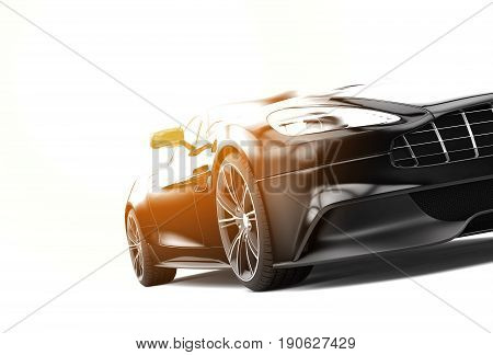 Black sport car isolated on a white background with sunset : 3d rendering