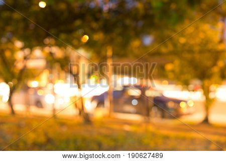 night light of roadside traffic in the city street abstract blur bokeh background