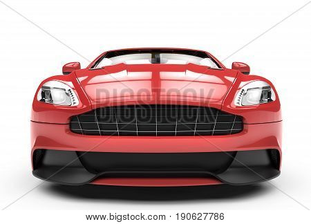 Front of a red sport car isolated on a white background isolated on a white background: 3d rendering