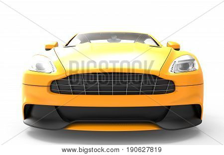 Front of a yellow sport car isolated on a white background isolated on a white background: 3d rendering