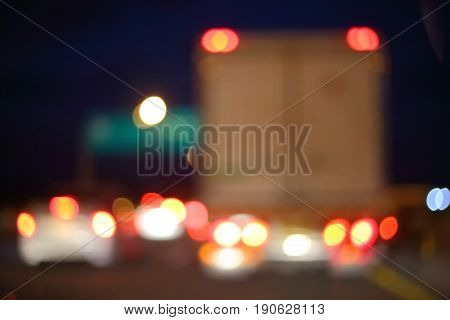 Night Light Of Truck Car On The City Street, Abstract Blur Bokeh Background
