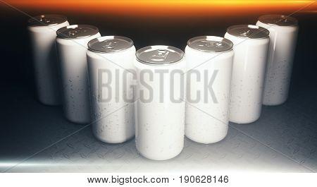 Blank Aluminium Soda Cans Closeup