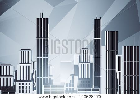 Abstract city on grey background. Industry concept. 3D Rendering
