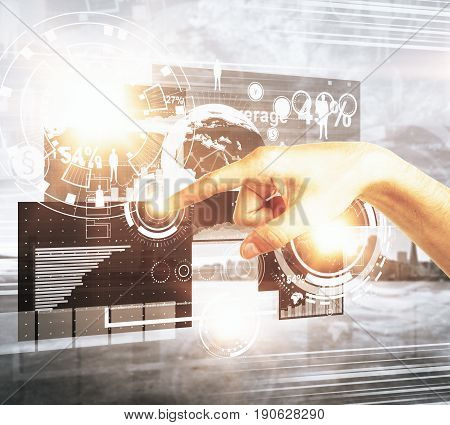 Hand pointing at abstract digital business screen. Fintech concept. 3D Rendering